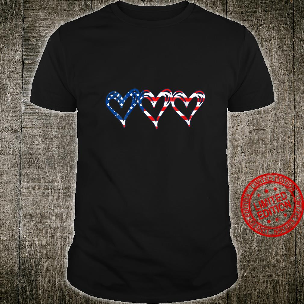 Womens USA Flag Patriotic American Hearts Armed Forces 4th of July Shirt